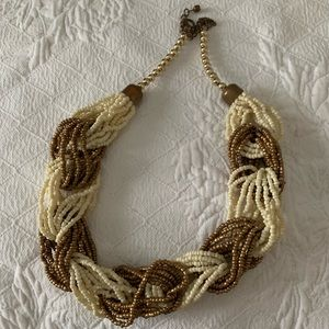 White / gold braided bead collar / choker becklace